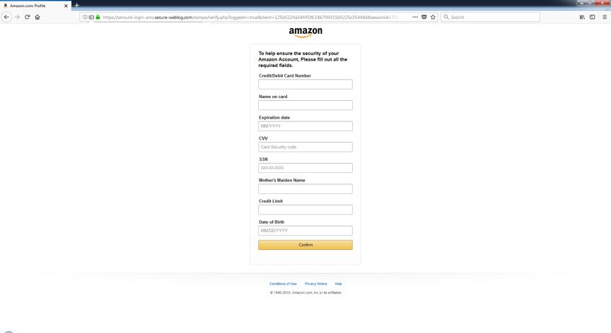 Фишинговая атака, имитирующая анкетную форму системы Amazon
