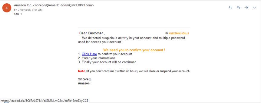 Фишинговая атака, маскирующаяся под сообщение от сервиса Amazon