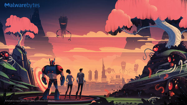Robot standing on a launchpad with two people overlooking an infected cityscape, ready to fight (unmuted version)
